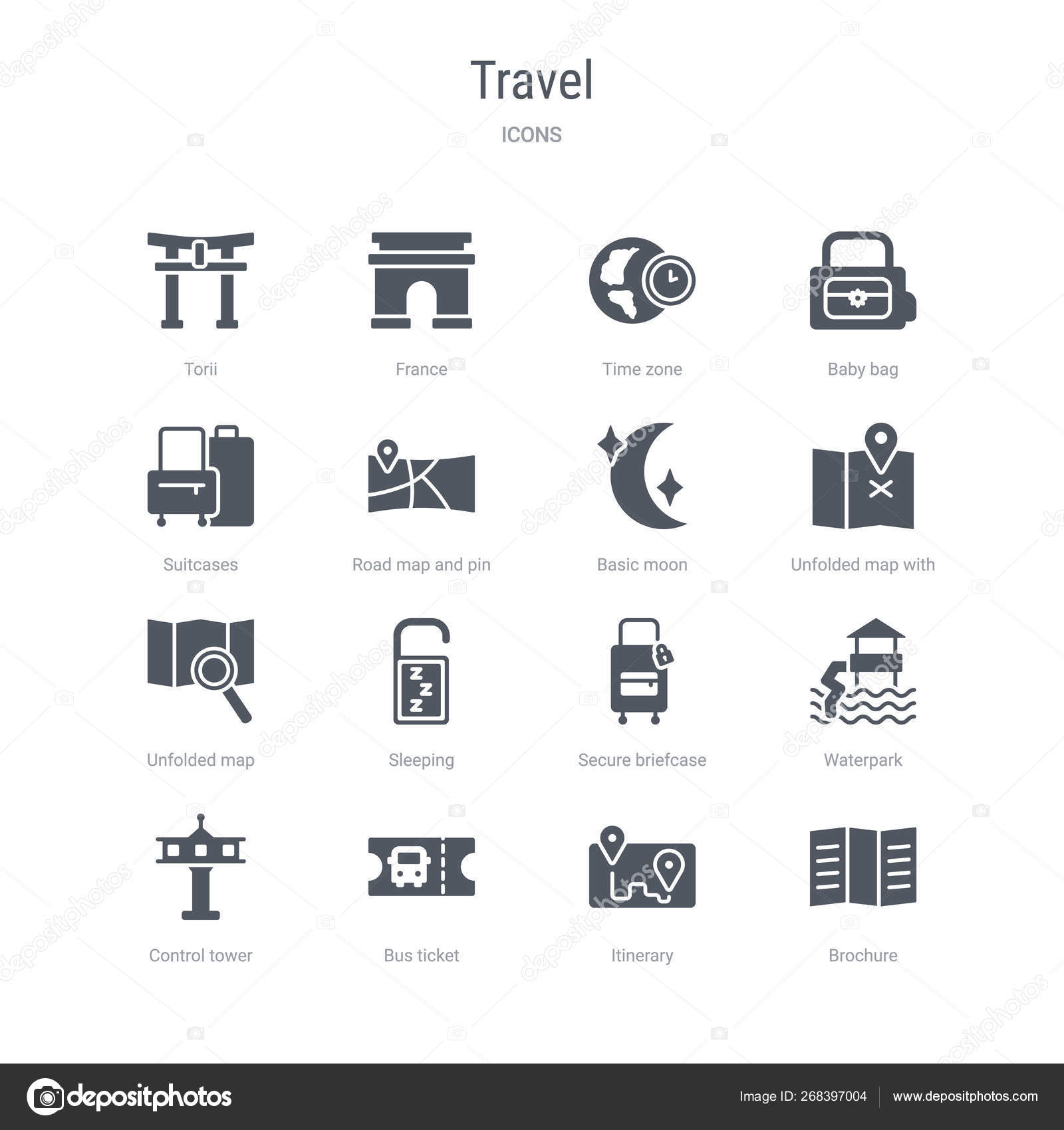 Set of 16 vector icons such as brochure, itinerary, bus