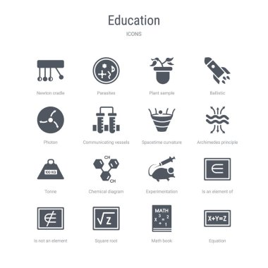 set of 16 vector icons such as equation, math book, square root,