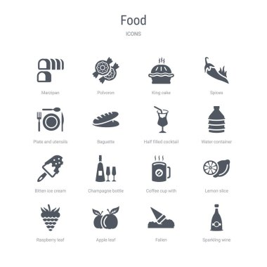 set of 16 vector icons such as sparkling wine, fallen, apple lea