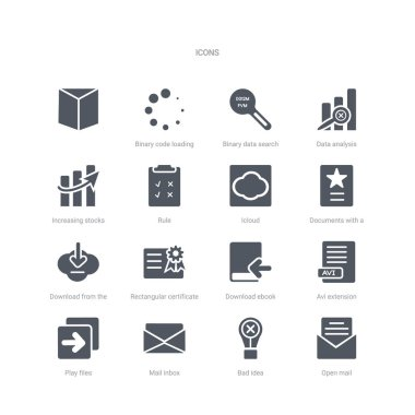 set of 16 vector icons such as open mail, bad idea, mail inbox,