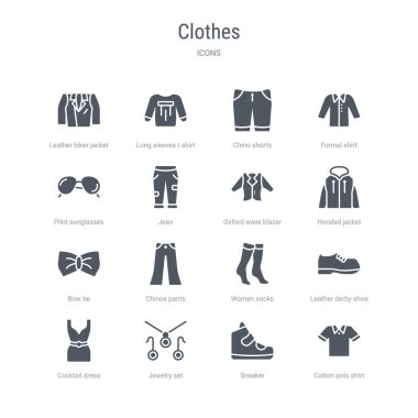 set of 16 vector icons such as cotton polo shirt, sneaker, jewel