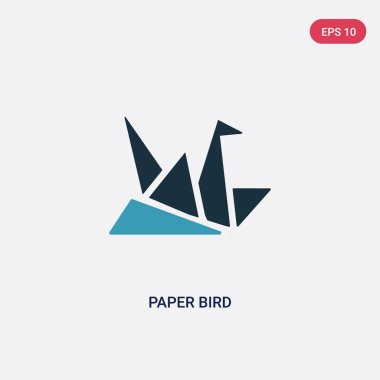 two color paper bird vector icon from user interface concept. is