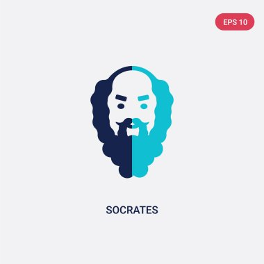 two color socrates vector icon from greece concept. isolated blu