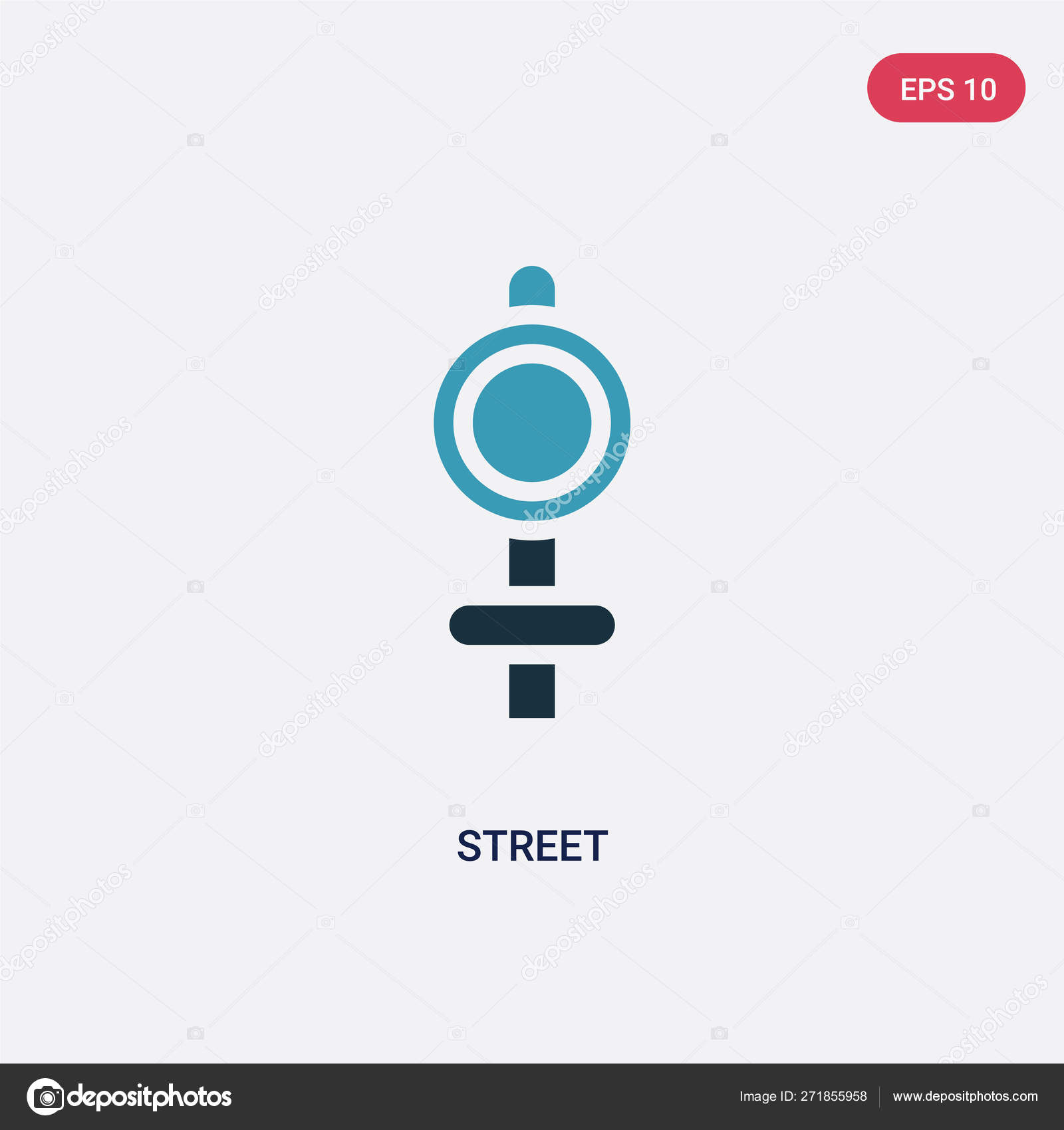Two Color Street Vector Icon From Signaling Concept Isolated Bl