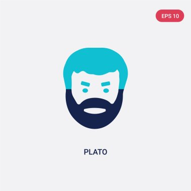 two color plato vector icon from greece concept. isolated blue p