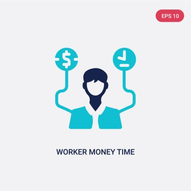 two color worker money time vector icon from business concept. i