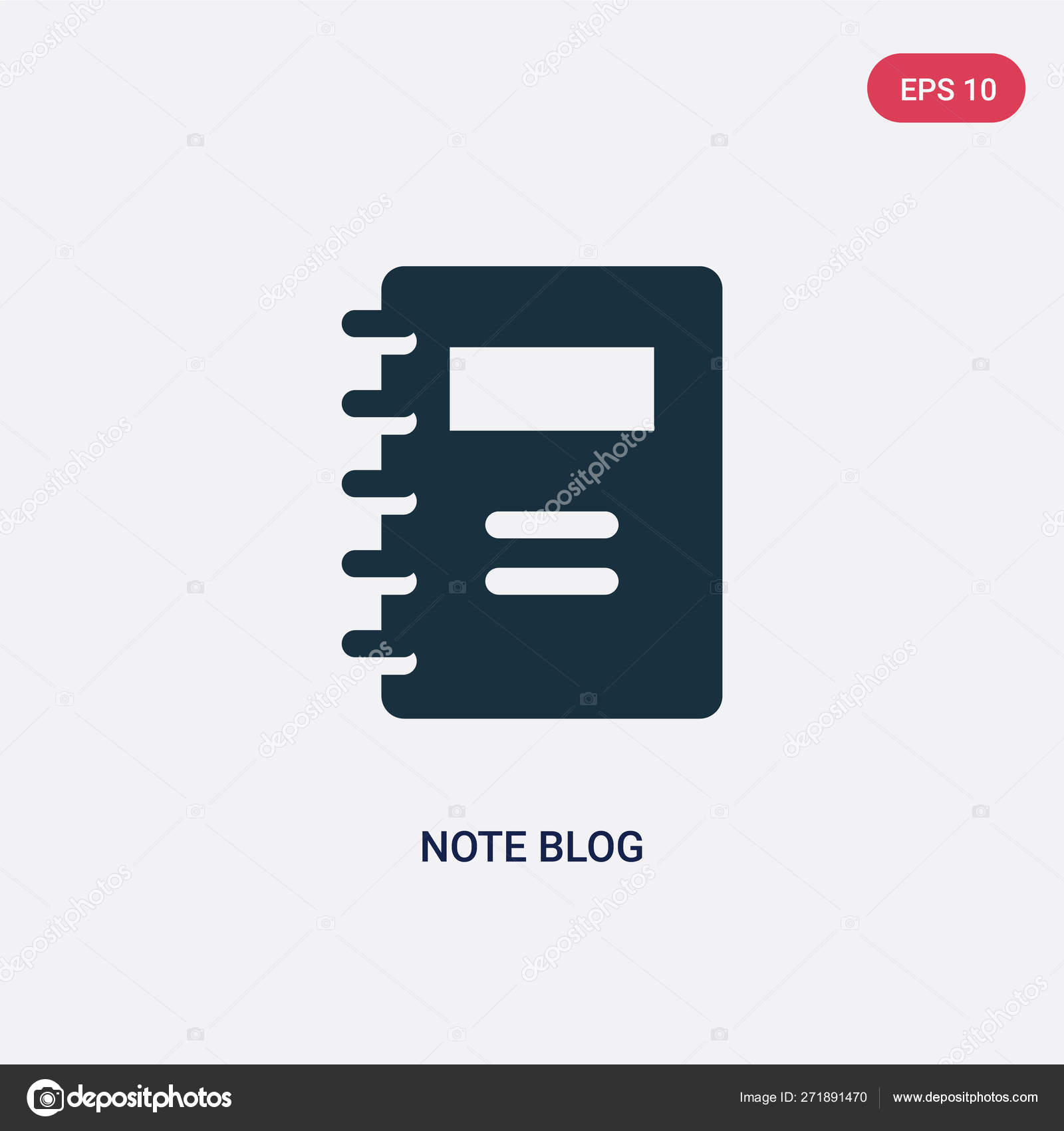 Two color note blog vector icon from user interface concept