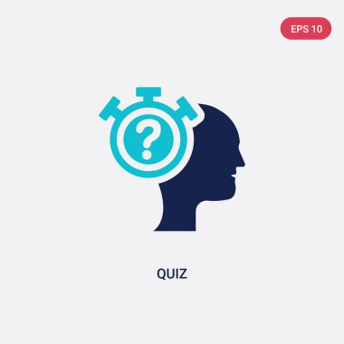 two color quiz vector icon from general concept. isolated blue q