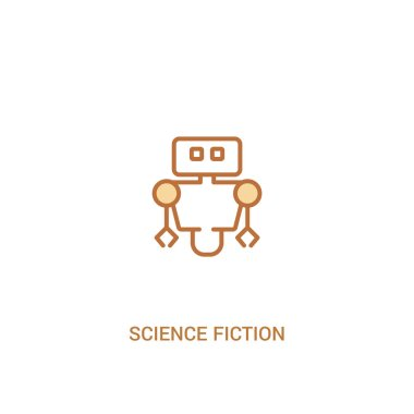 science fiction concept 2 colored icon. simple line element illu