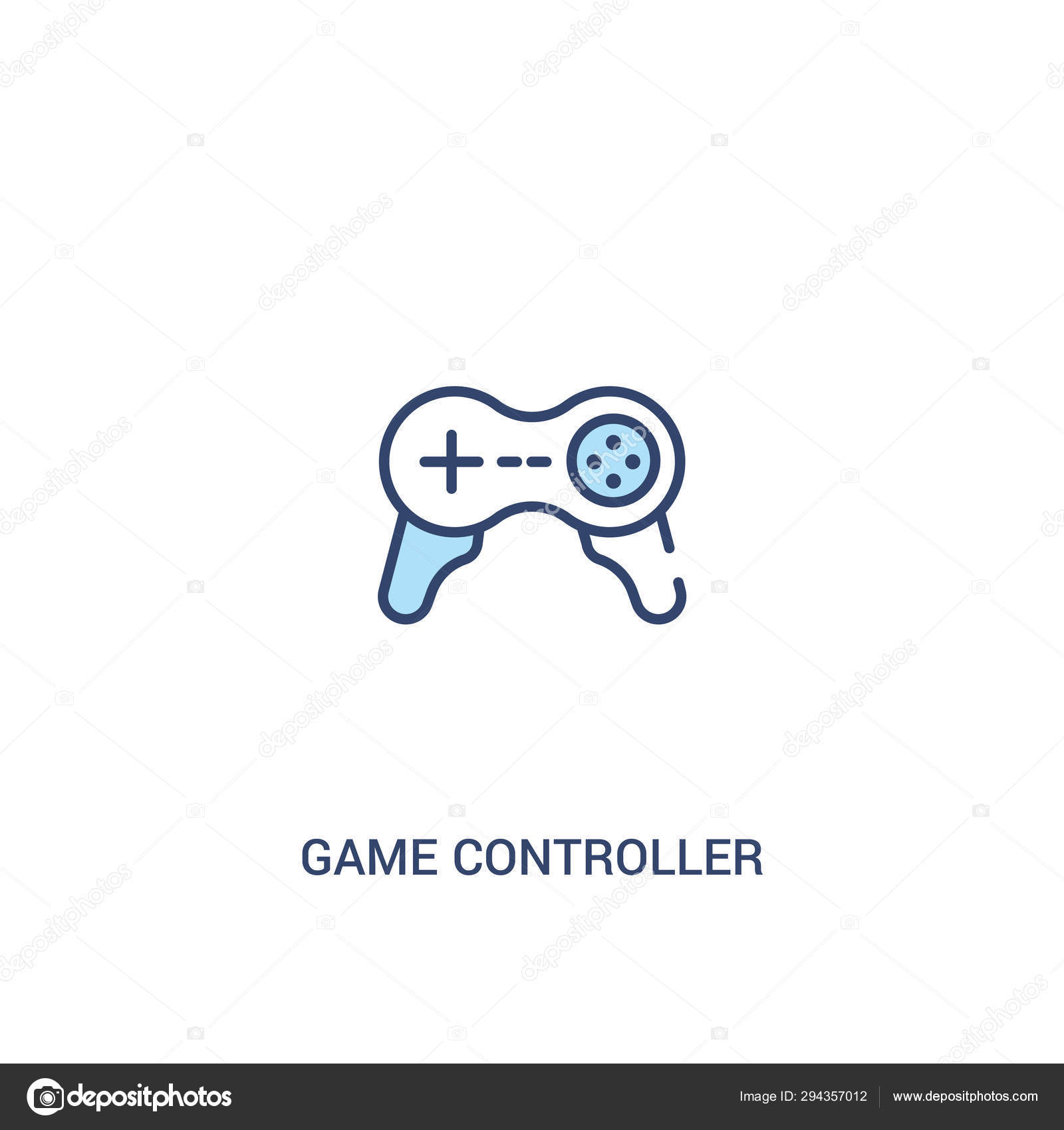 Game controller cross concept 2 colored icon  simple line