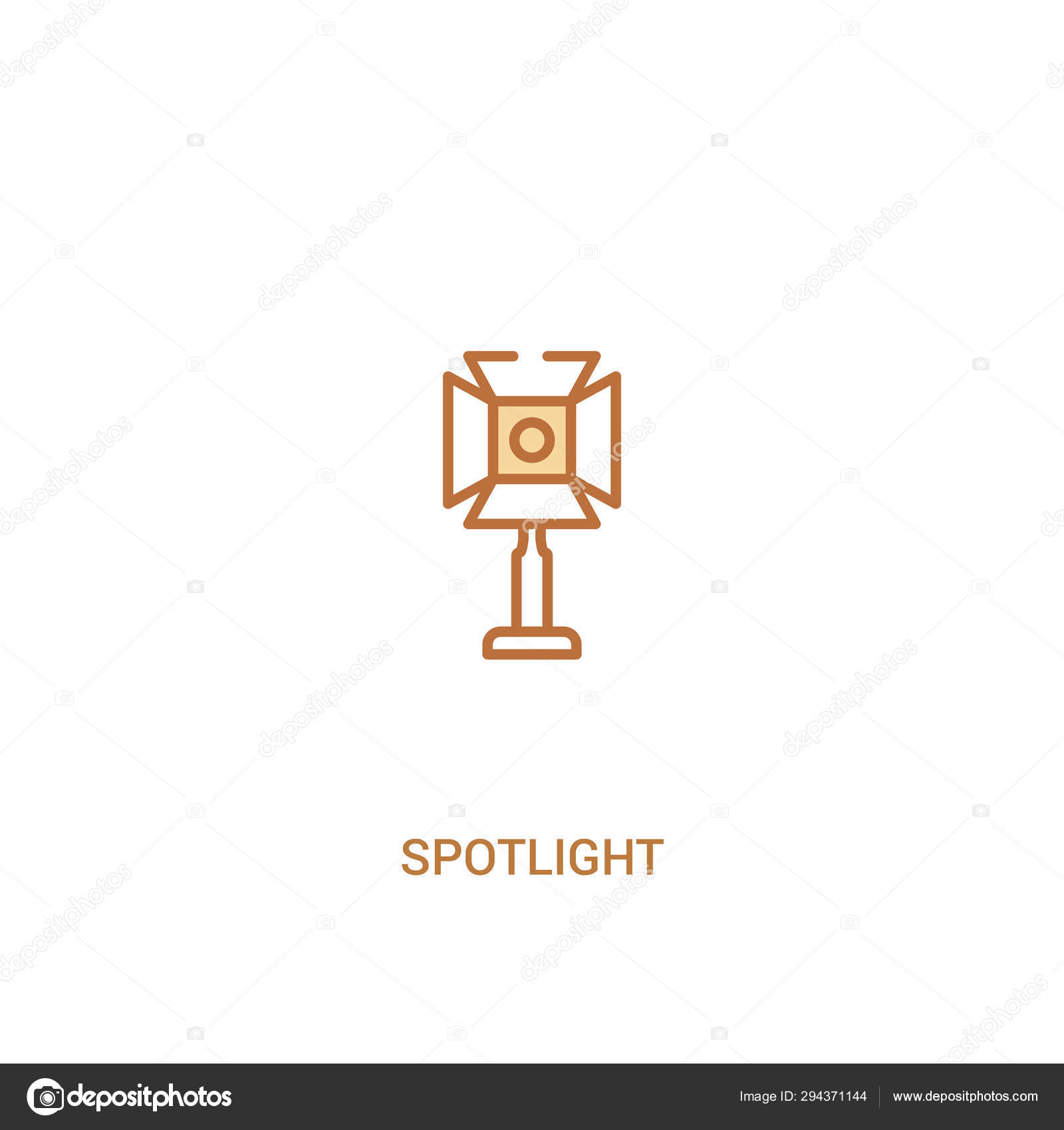 Spotlight concept 2 colored icon  simple line element