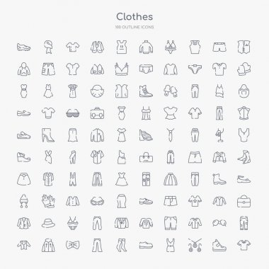 100 clothes outline icons set such as cotton polo shirt, jewelry set, cocktail dress, leather derby shoe, women socks, chinos pants, bow tie, hooded jacket
