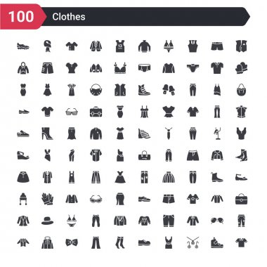 100 clothes icons set such as cotton polo shirt, jewelry set, cocktail dress, leather derby shoe, women socks, chinos pants, bow tie, hooded jacket, oxford wave blazer