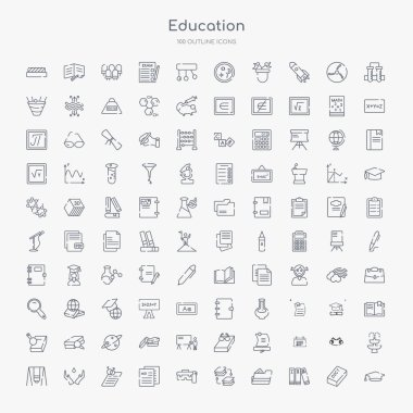 100 education outline icons set such as graduate cap, three books, open file, arrange, lunchbox, mie, fraternity, hand care