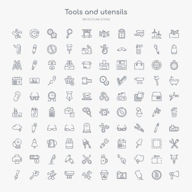 100 tools and utensils outline icons set such as megaphone side view, highlight, edit picture, recycling bin, cross wrench, air conditioning, reparation, key ring