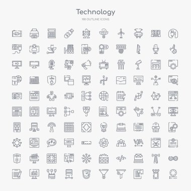 100 technology outline icons set such as colory theory, content marketing, conversion, conversion rate optimization, css3, data architecture, data modelling, data visualization