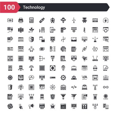 100 technology icons set such as a/b testing, attributes, back end, bounce rate, bugs, caching, call to action, click through rate, color value