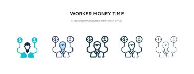 worker money time icon in different style vector illustration. t