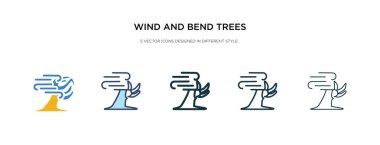 Wind and bend trees icon in different style vector illustration. two colored and black wind and bend trees vector icons designed in filled, outline, line stroke style can be used for web, mobile, ui clip art vector