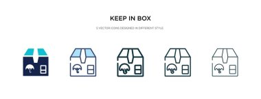 keep in box icon in different style vector illustration. two col