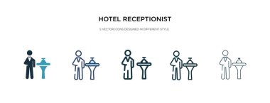 hotel receptionist icon in different style vector illustration.