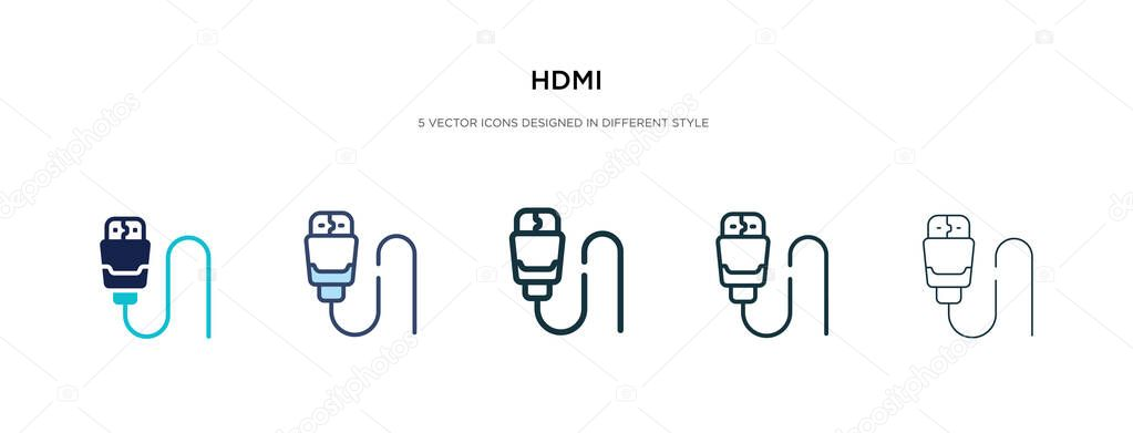 hdmi icon in different style vector illustration two colored and black hdmi vector icons designed in filled outline line and stroke style can be used for web mobile ui premium vector wdrfree