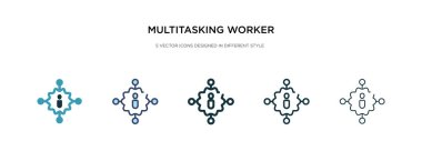 multitasking worker icon in different style vector illustration.