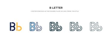 b letter icon in different style vector illustration. two colore