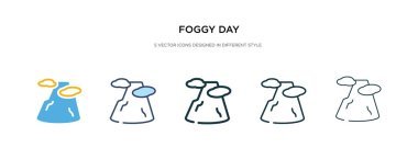 foggy day icon in different style vector illustration. two color