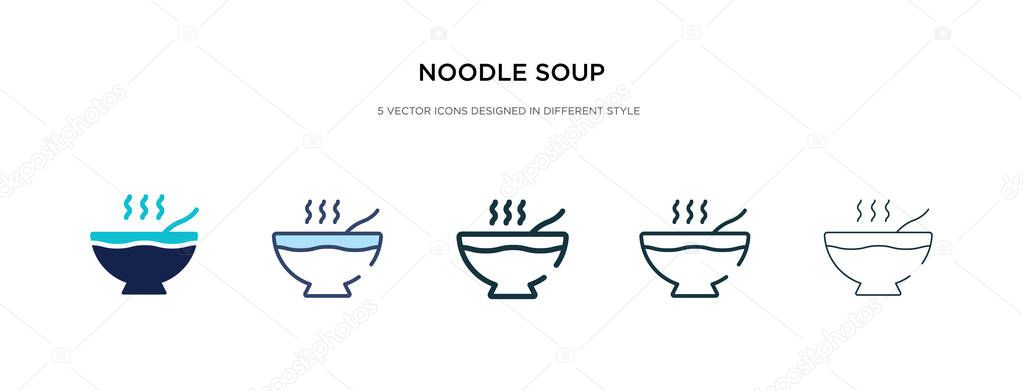 Noodle Soup Icon In Different Style Vector Illustration Two Colored And Black Noodle Soup Vector Icons Designed In Filled Outline Line And Stroke Style Can Be Used For Web Mobile Ui
