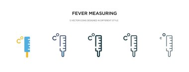 fever measuring icon in different style vector illustration. two
