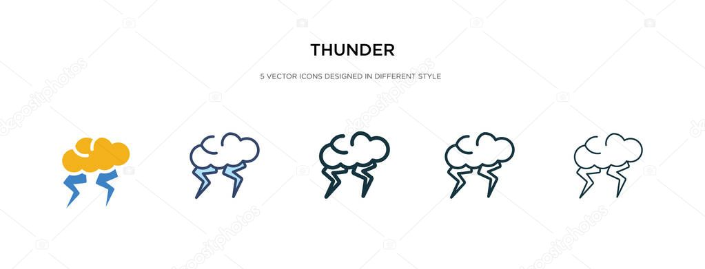 thunder icon in different style vector illustration two colored and black thunder vector icons designed in filled outline line and stroke style can be used for web mobile ui premium vector wdrfree