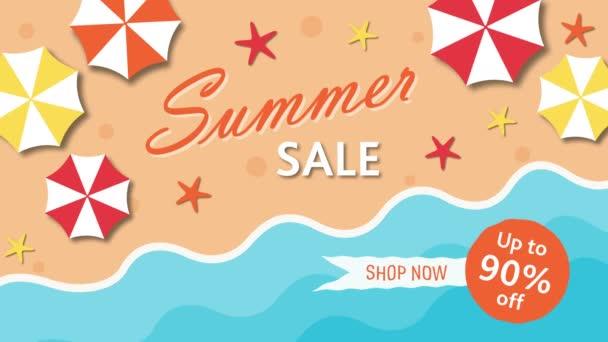Letní výprodej, sleva devadesát procent s deštníky a moře