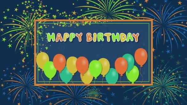 Všechno nejlepší k narozeninám s ohňostrojem a balóny