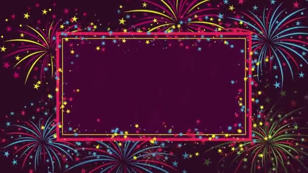 Pozadí s ohňostrojem a hvězdy pro blahopřání k narozeninám