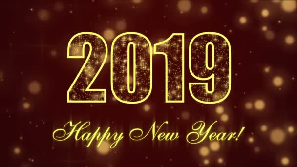 happy new year 2019 with glowing particles on the dark red background stock video