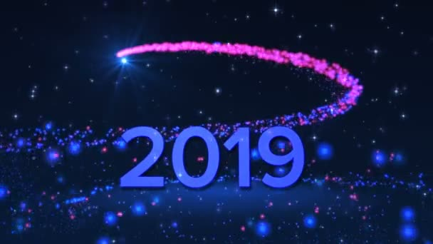 happy new year 2019 with a fireworks and glowing particles on the dark blue background