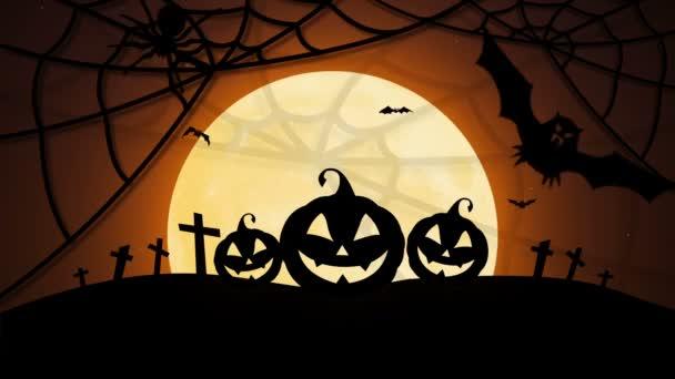 Veselý Halloween s dýní, měsíc, netopýry a spider
