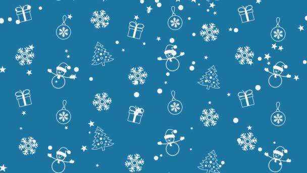 Karácsonyi háttér minta a karácsonyfa, hóembert, hópelyhek, és karácsonyi golyókat
