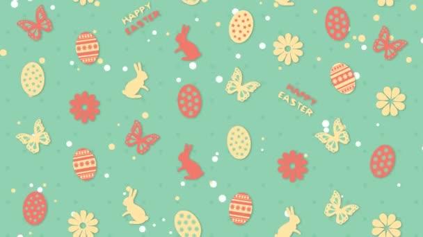 Pozadí šťastné Velikonoce s vejci, květinami a motýlama