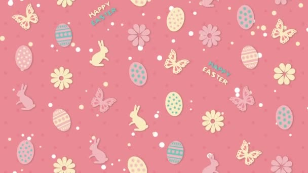 Background Happy Easter with eggs, flowers and butterflies