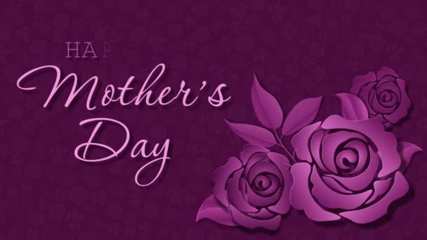 Happy Mothers Day with roses on the dark pink background
