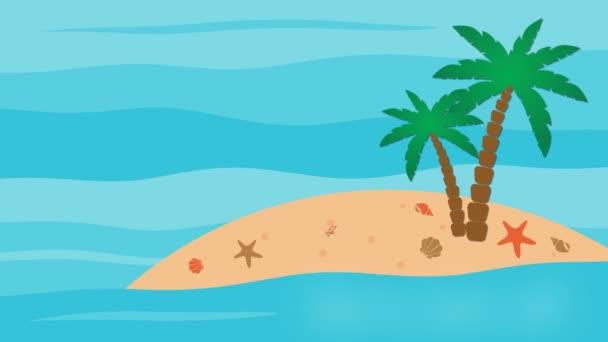Letní prodej, 50% sleva s ostrovní a palmovými stromy