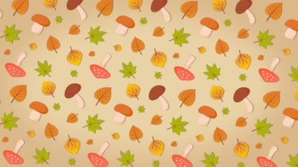 Pilze und Blätter, Herbst bunten Hintergrund