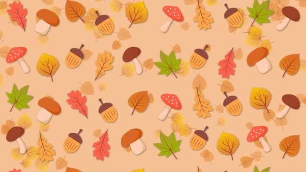 Mushrooms, acorns and oak leaves, autumn background