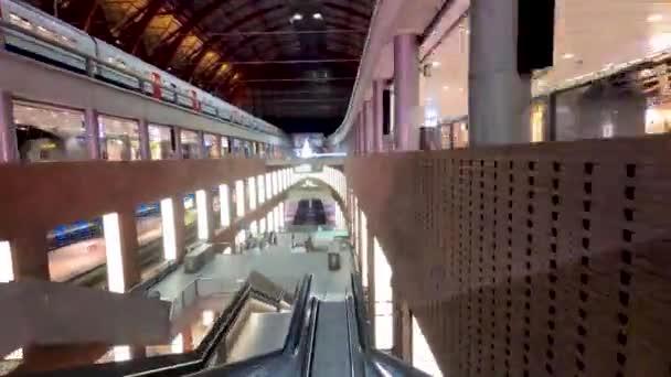 February 2020, Antwerp, Belgium Hyperlapse video of travelling through the Antwerp Central Railway station