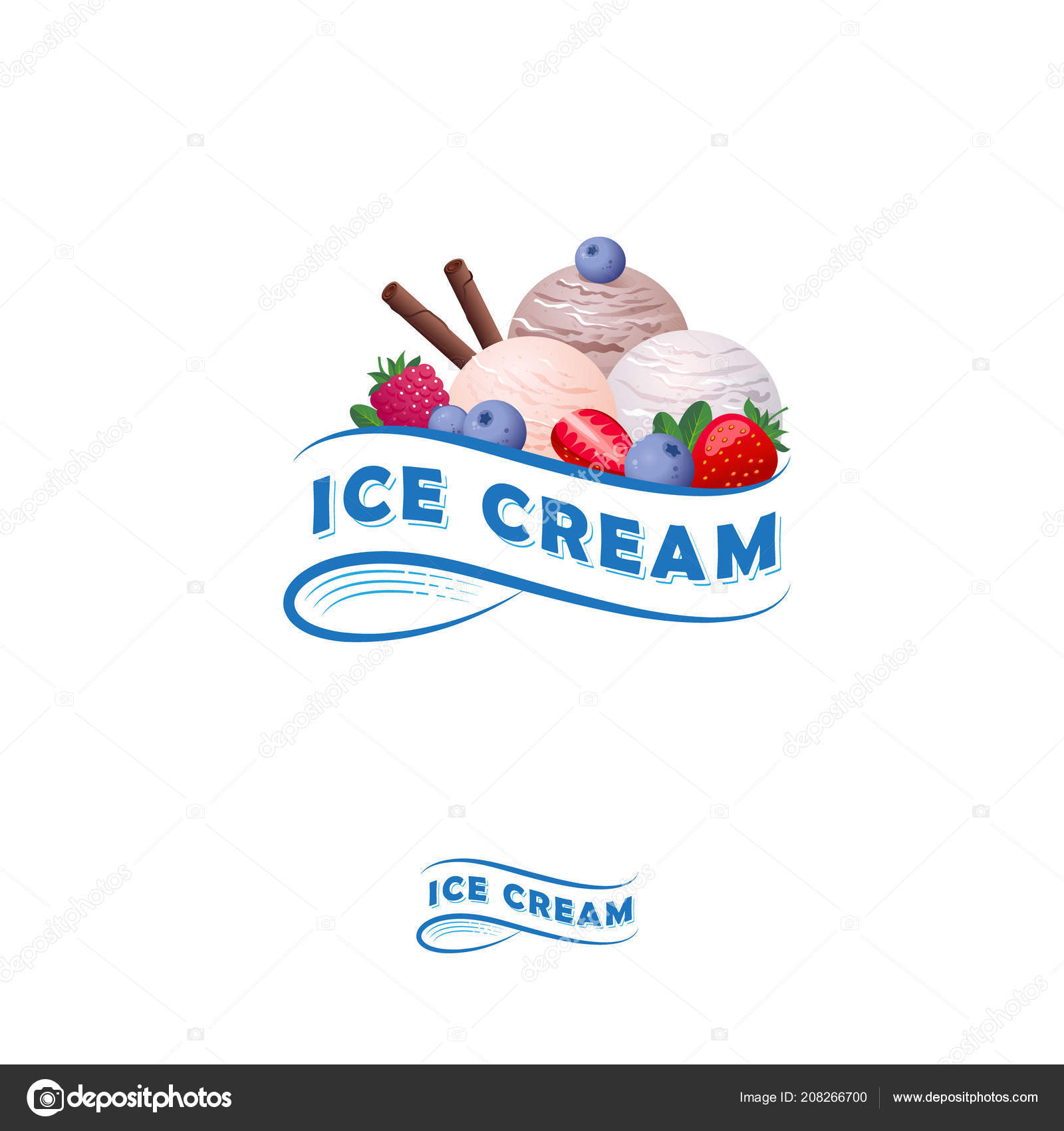 ice cream logo letters ribbon three scoops ice cream berries stock