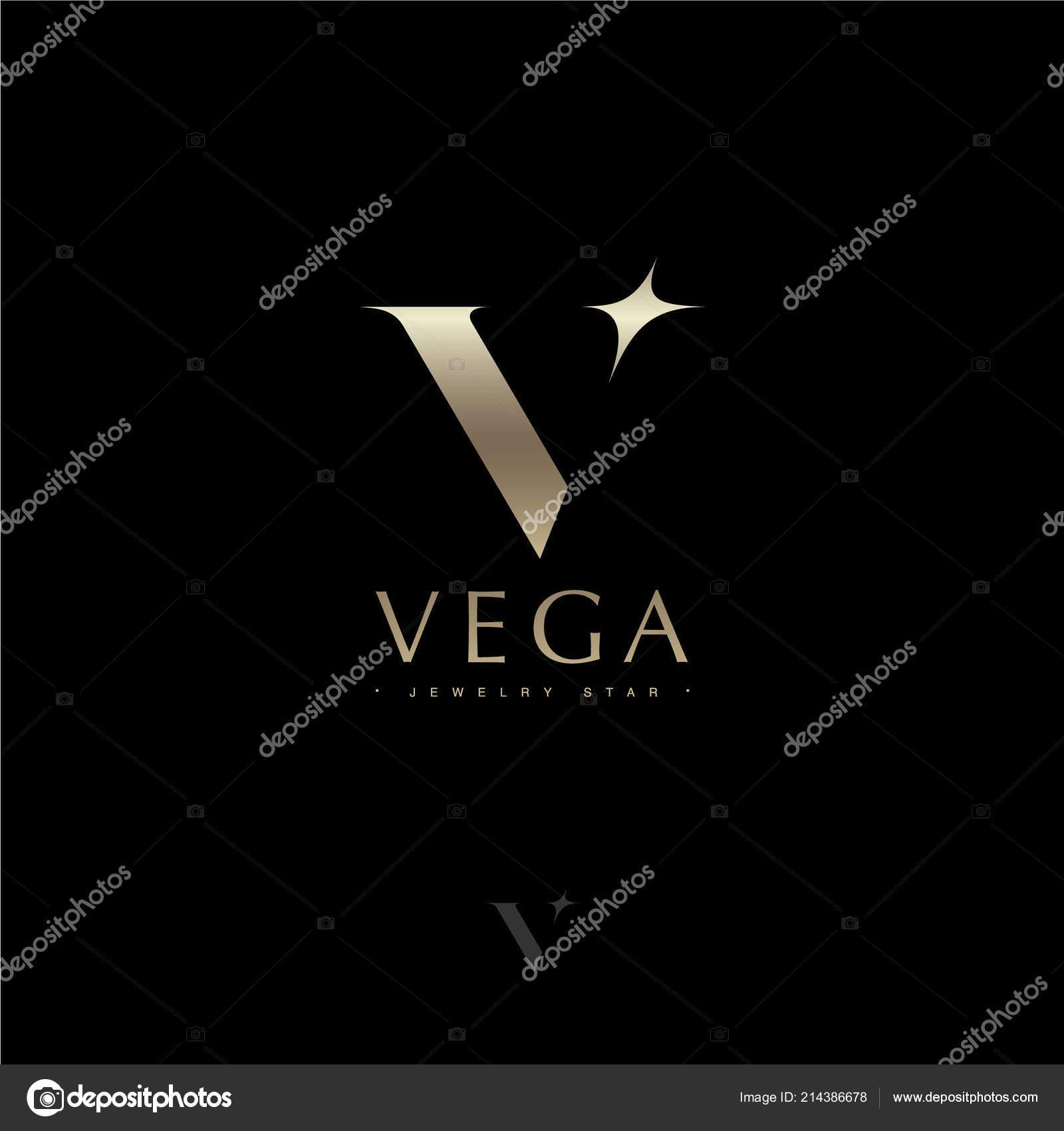 Vega Letter Vega Star Astronomy Logo Gold Letter Star Jewelry Stock Vector C Nataly 314 214386678