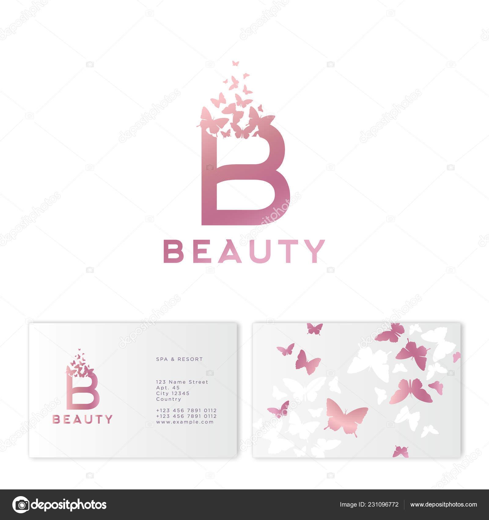 Rose Lettre B Avec Le Vol De Papillons Logo La Beaute Embleme Pour Spa Cosmetiques Mode Atelier Couture Ou Bijoux Identite Carte Visite