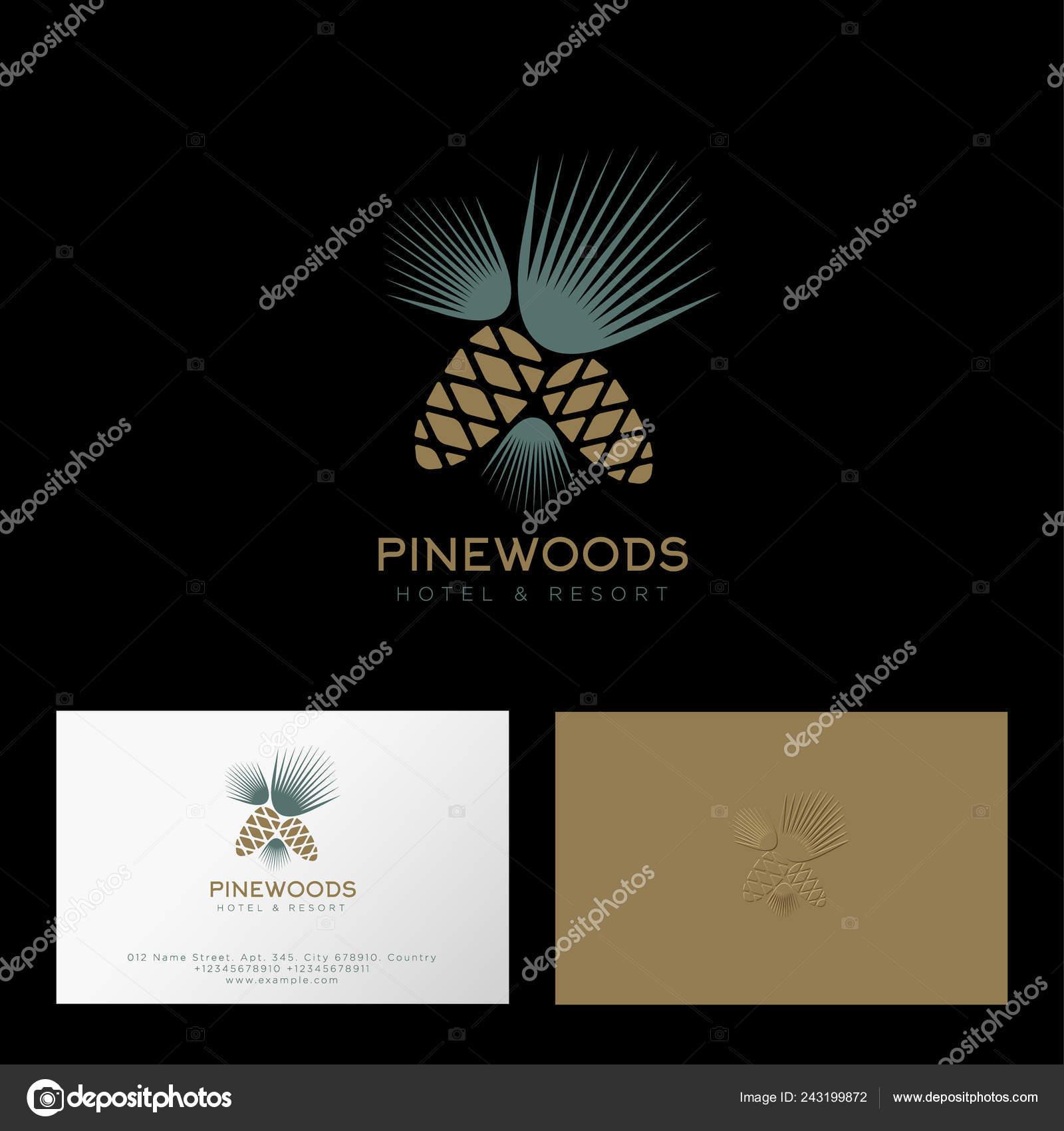 Kiefernwald Logo Hotel Und Resort Tannenzapfen Und Nadeln